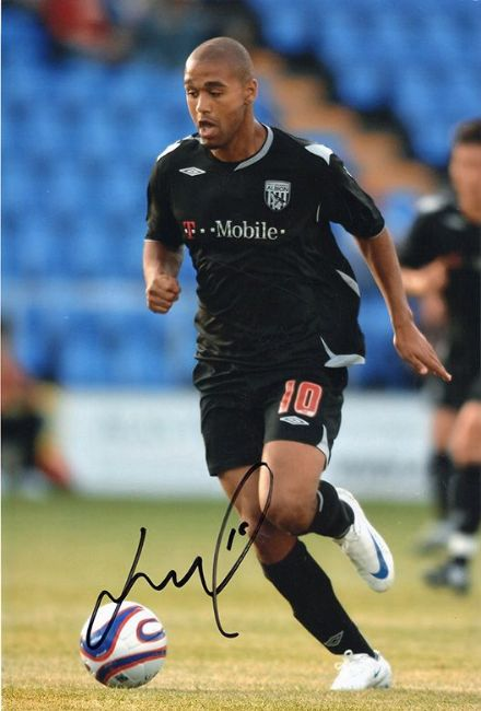 Luke Moore, West Brom, signed 12x8 inch photo.